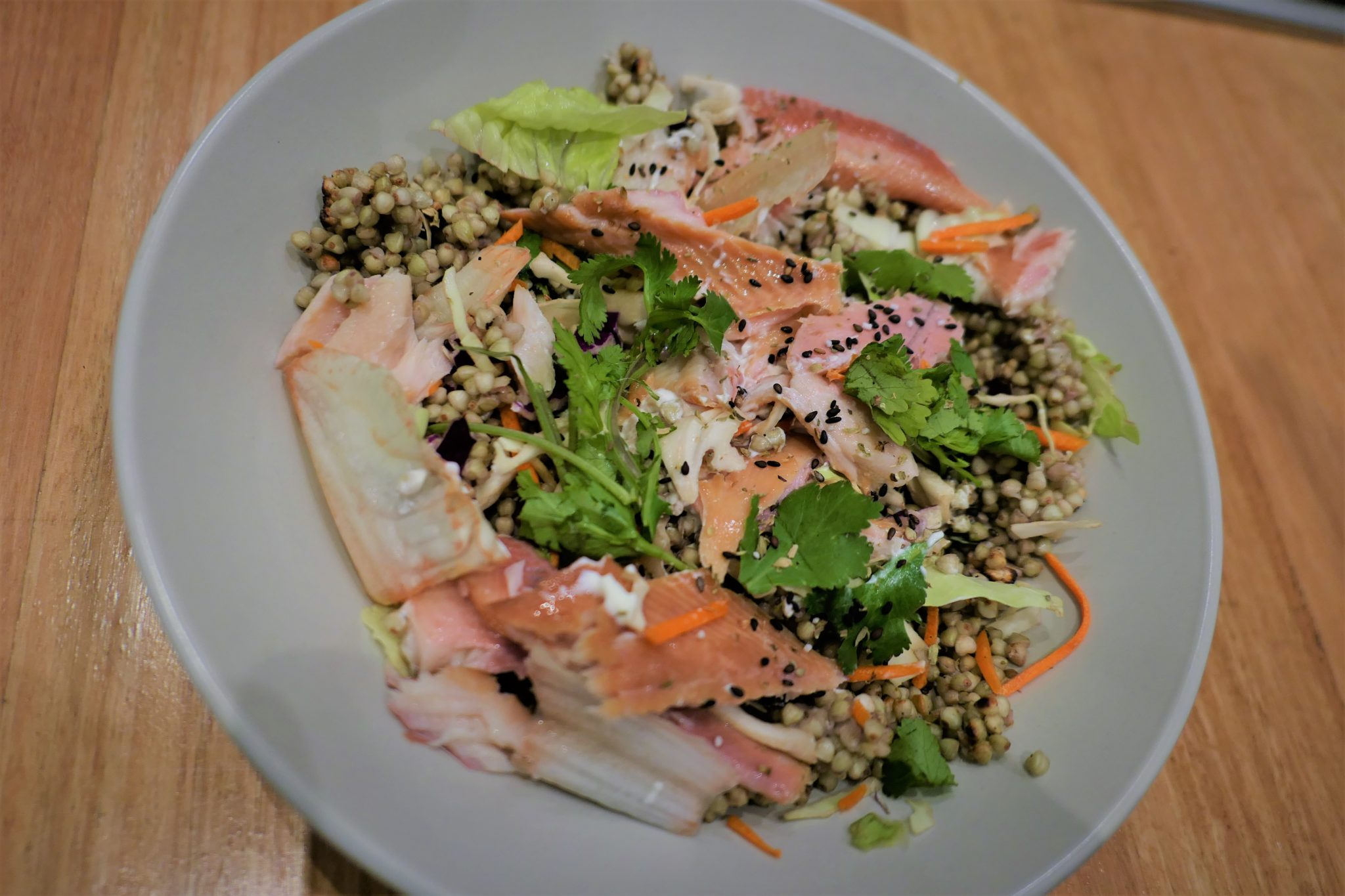 Smoked trout with buckwheat and veggies