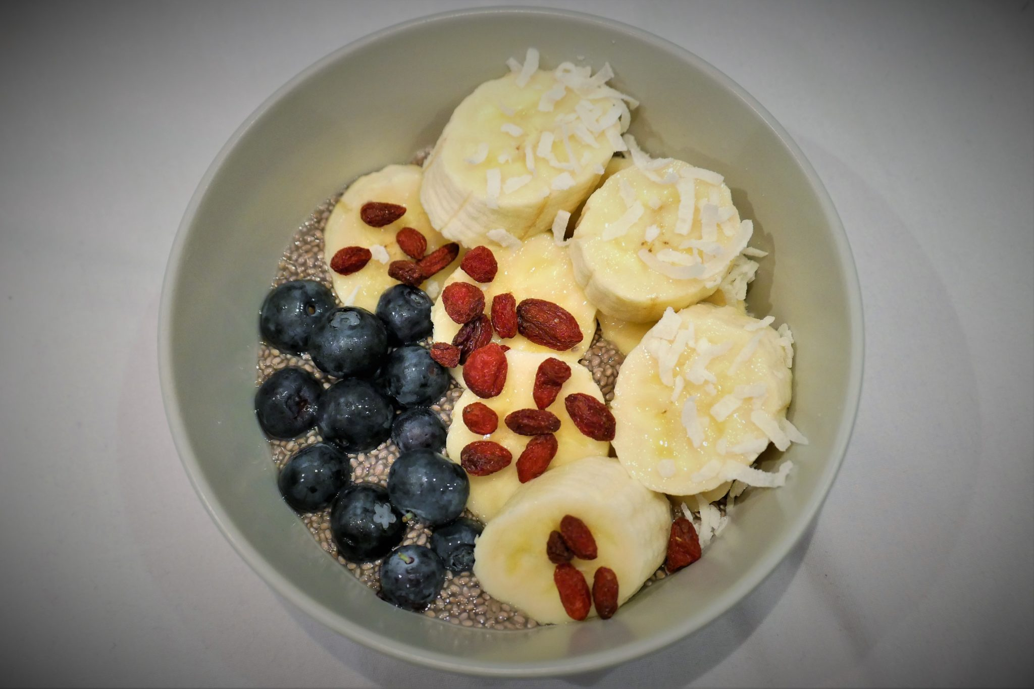 Chia pudding with banana and blueberries
