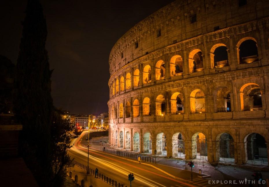 Colosseum at night from Via Nicola Salvi