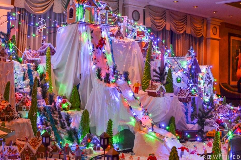 Christmas display, Cunard Queen Elizabeth, Gingerbread houses