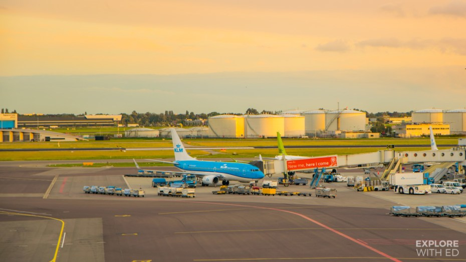 KLM plane taxiing in Schiphol Airport
