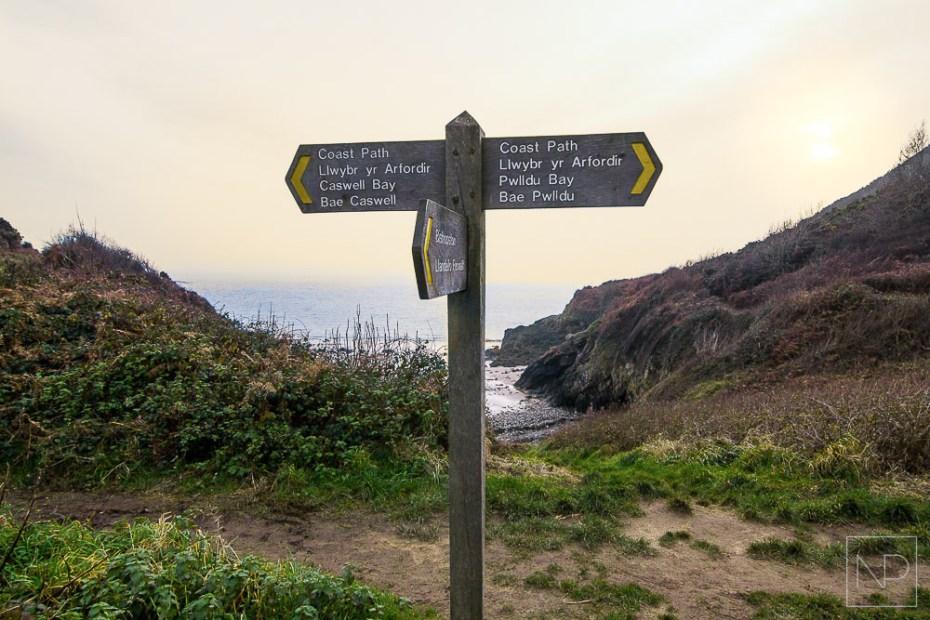 Gower Coastal Path sign near Brandy Cove