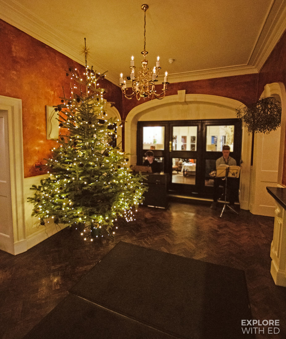 Hotel entrance lobby area at The Angel Hotel in Abergavenny