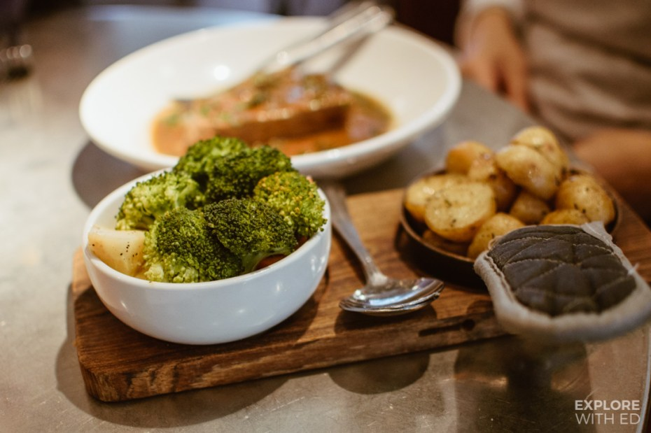 The main dishes at Bistrot Pierres also include seasonal vegetables and potatoes