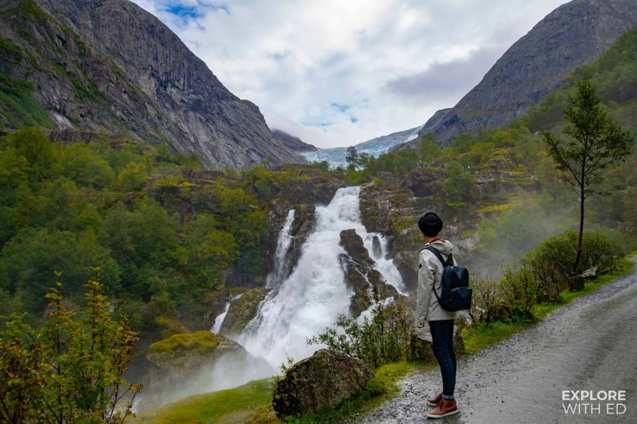 Waterfall with a view of Briksdal Glacier