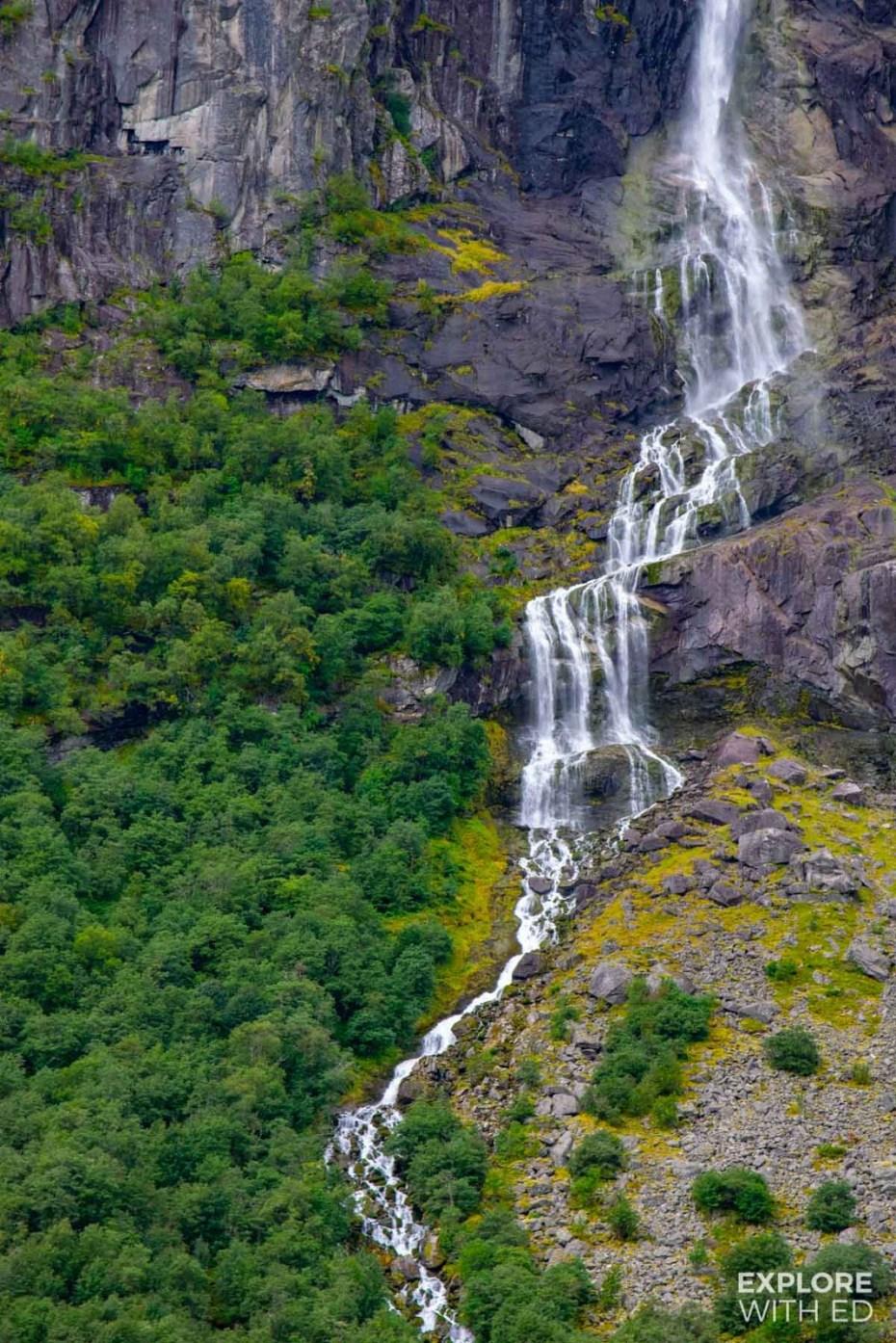 Spectacular waterfall in Jostedalsbreen National Park near Briksdal