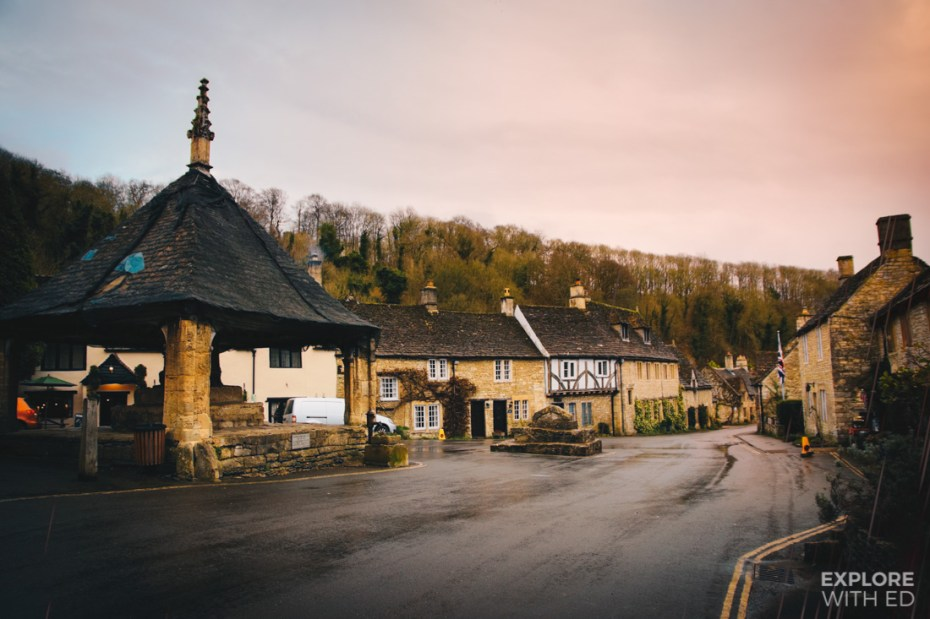 The central Market Square of Castle Combe on a wet January day