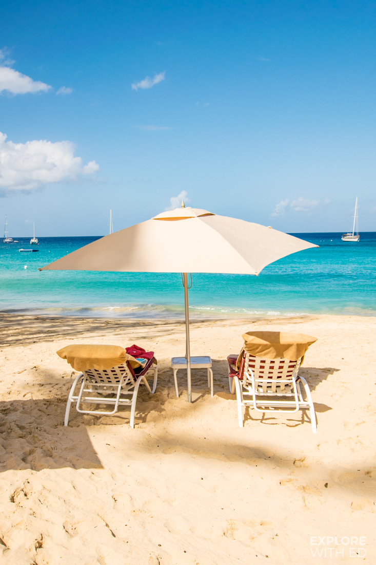 Loungers on the beach at The Colony Club in Barbados