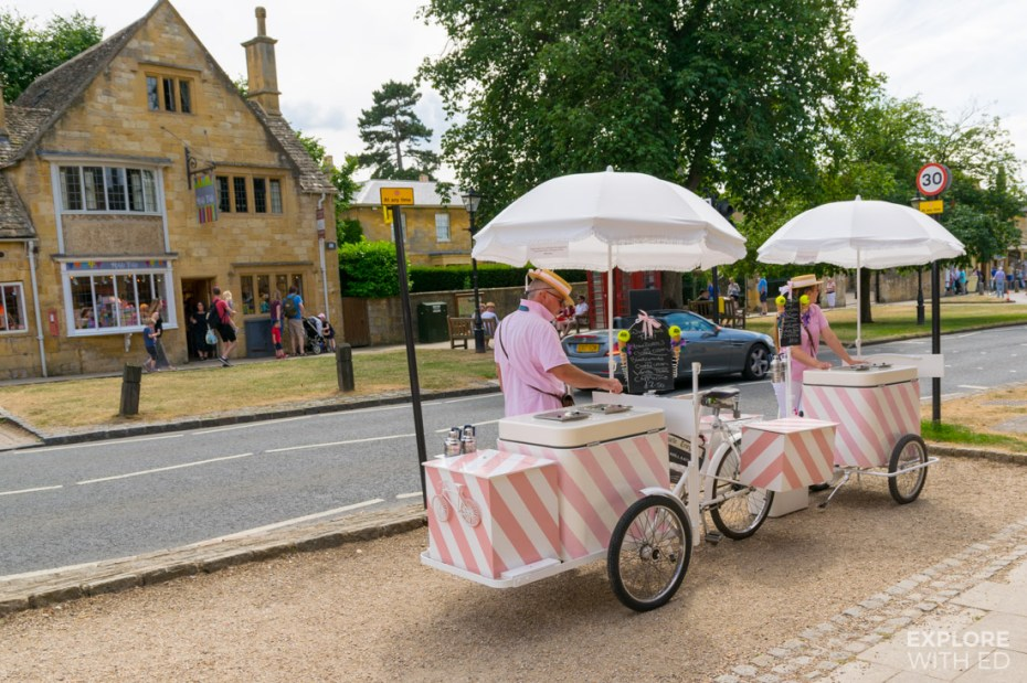 Vintage Ice Cream cart in Broadway, The Cotswolds