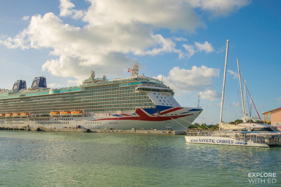 P&O Britannia docked in Antigua before a Transatlantic Cruise