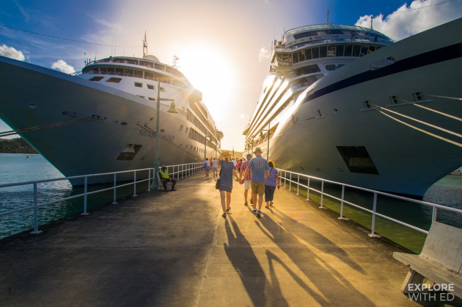 Silver Wind and Viking Sea docked in Antigua