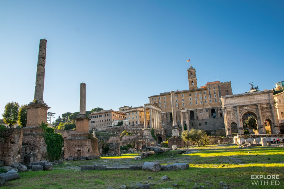 Ground level photo of the Roman Forum with ancient ruins