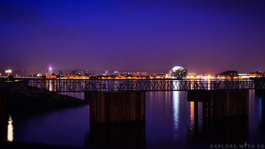 Cardiff city by night, Cardiff Barrage, Penarth Marina