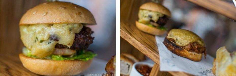 Mini beef burger, rarebit with pulled pork