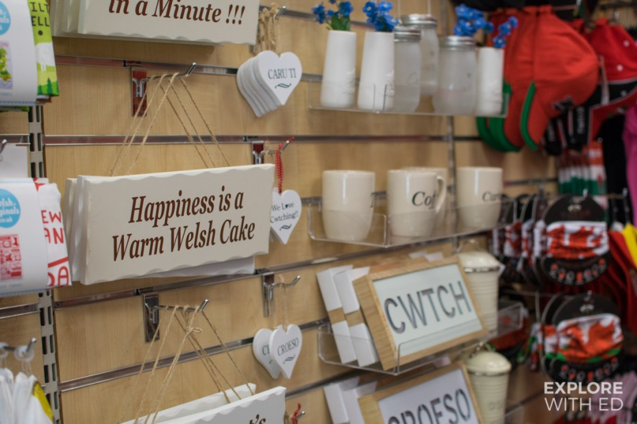 'Cwtch' signs and wall decorations in Shop Wales