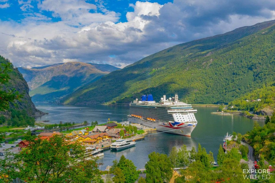The port of Flam and docked cruise ship P&O Britannia