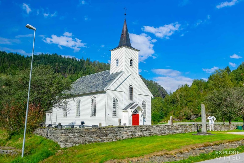 Typical white panelled Norwegian Church