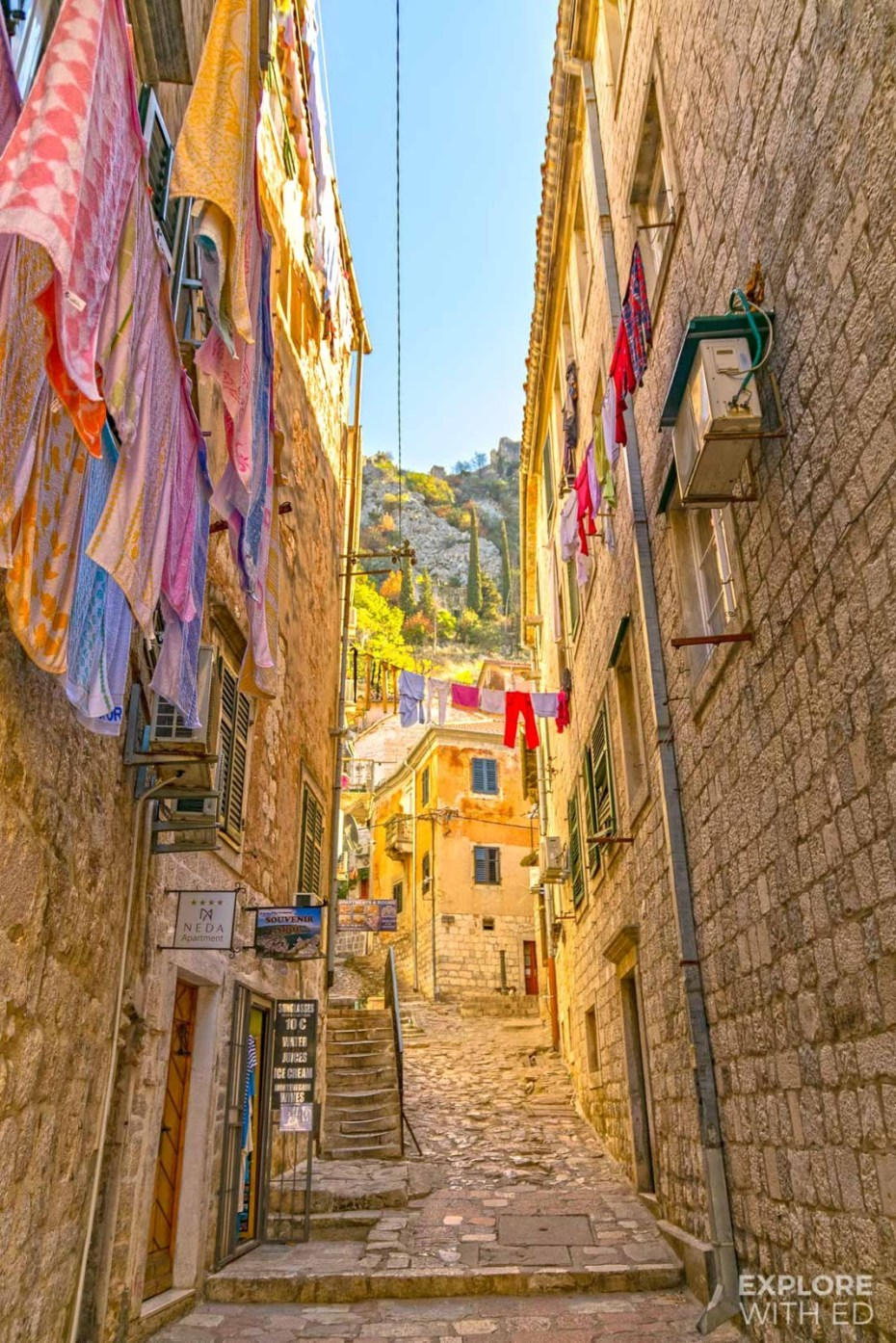 Medieval town of Kotor with narrow cobbled streets and old buildings