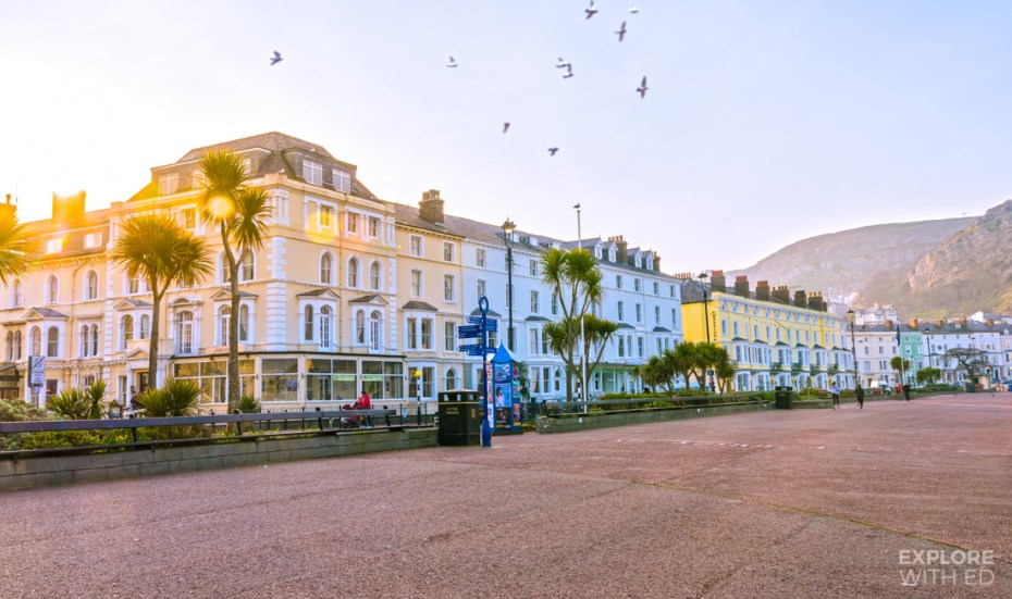 Llandudno seafront with Victorian buildings and palm trees