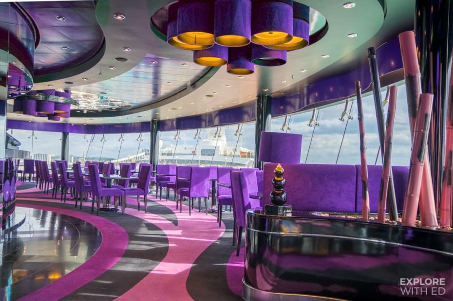 Purple Galaxy Lounge on MSC Preziosa overlooking ship