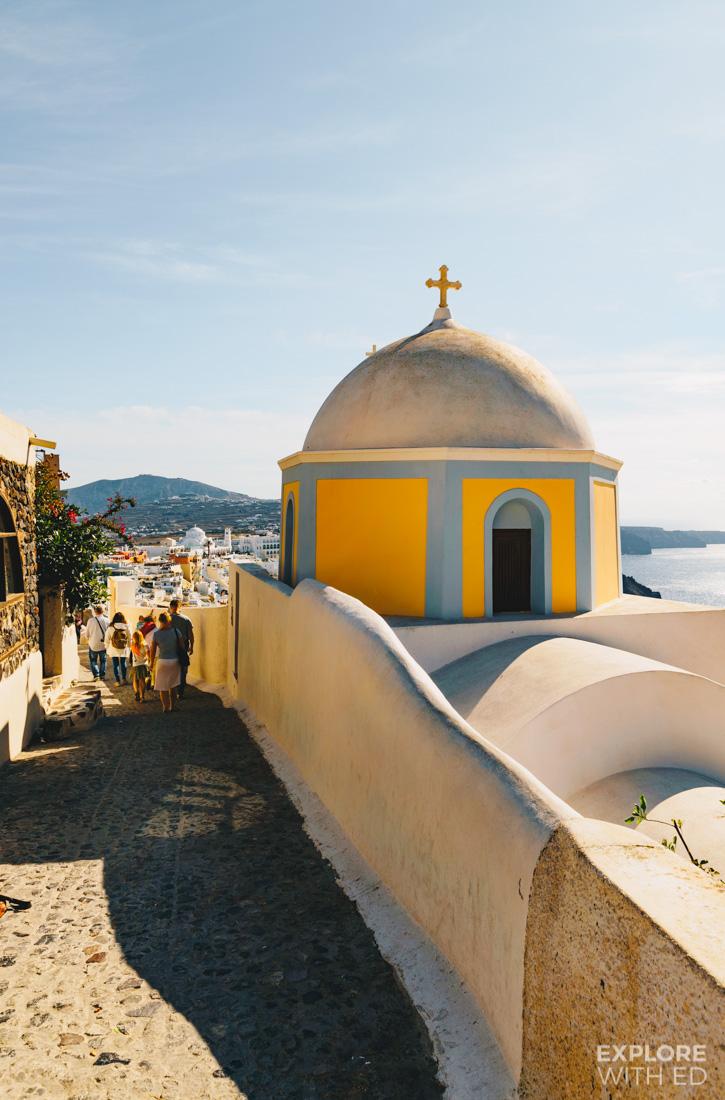 Yellow dome church in Fira on the island of Santorini