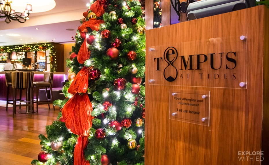 Entrance to Tempus at Tides with Christmas decorations
