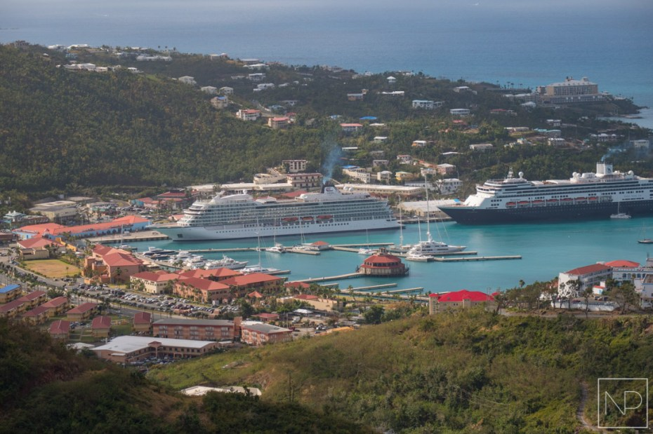 The Viking Sea docked in Charlotte Amalie, one of the busiest cruise destinations in the Caribbean