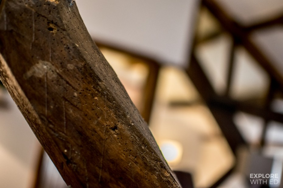 Closeup of the old beams inside Ty Morgans