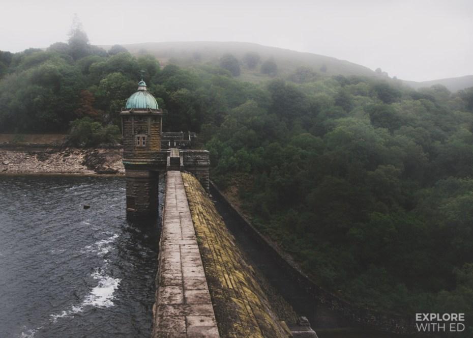 Pen y Garreg Dam and round house tower in The Elan Valley