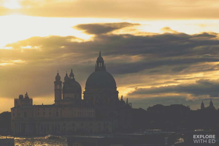 Golden sunset over the Basilica di Santa Maria della Salute