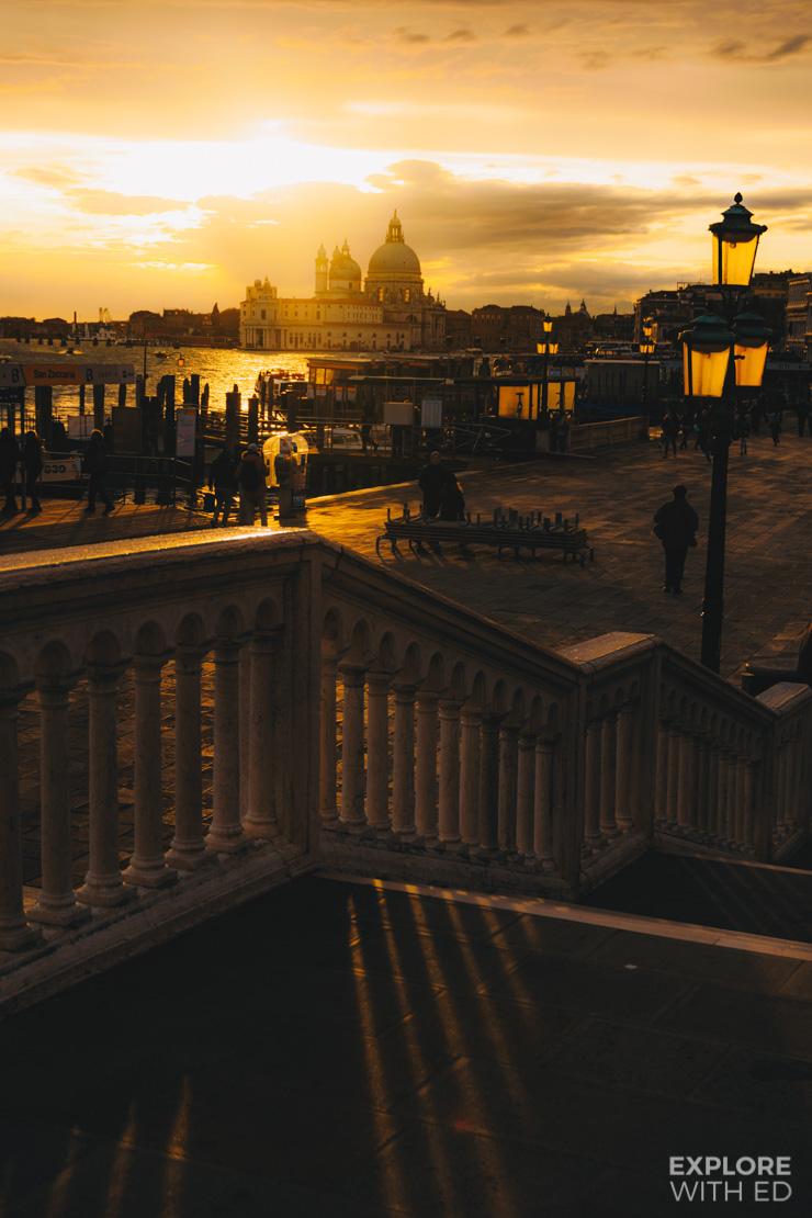 The golden hour in Venice looking towards Basilica di Santa Maria della Salute
