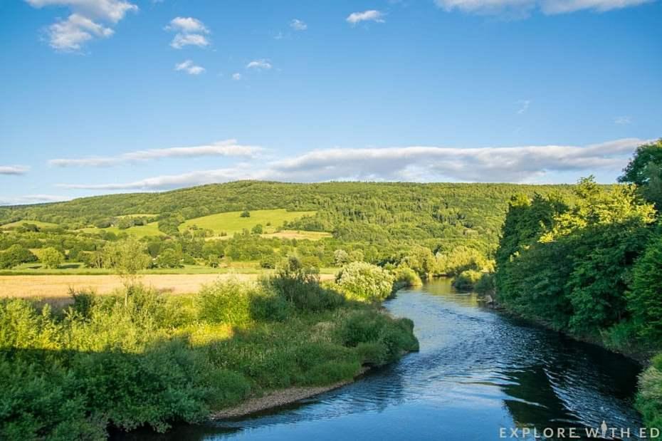 Newbridge on Usk countryside, river usk