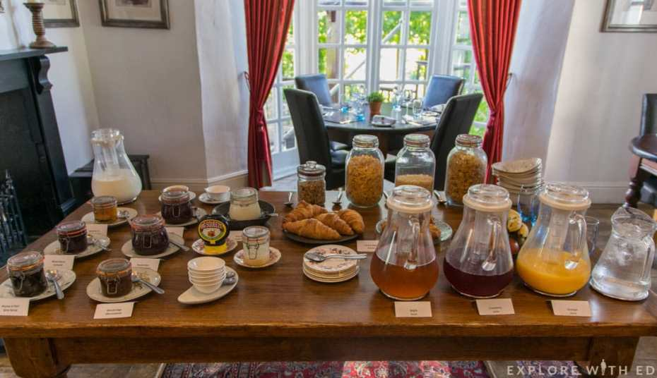 Breakfast buffet at Newbridge on Usk