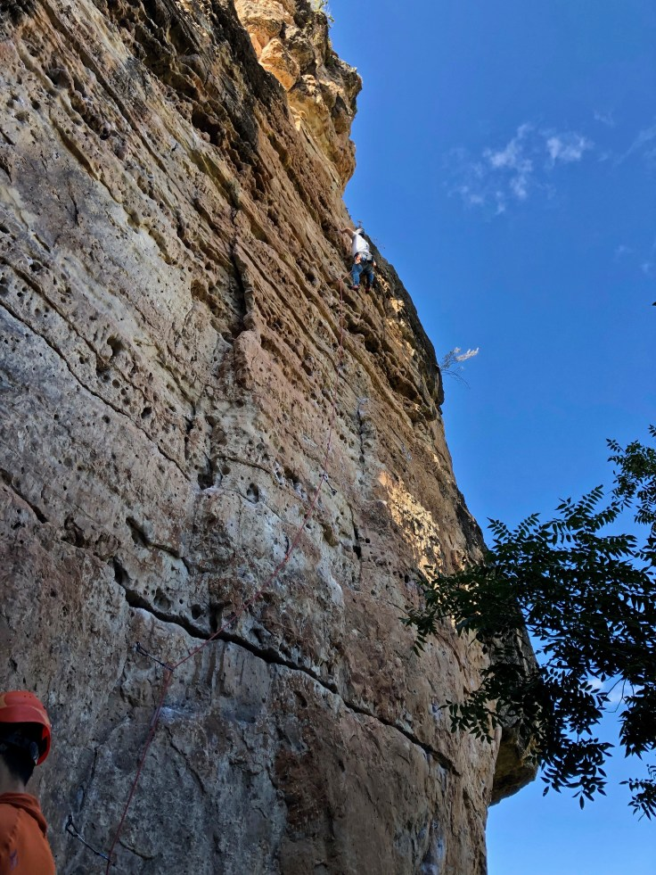 Climbing at the swiss wall in jacks canyon