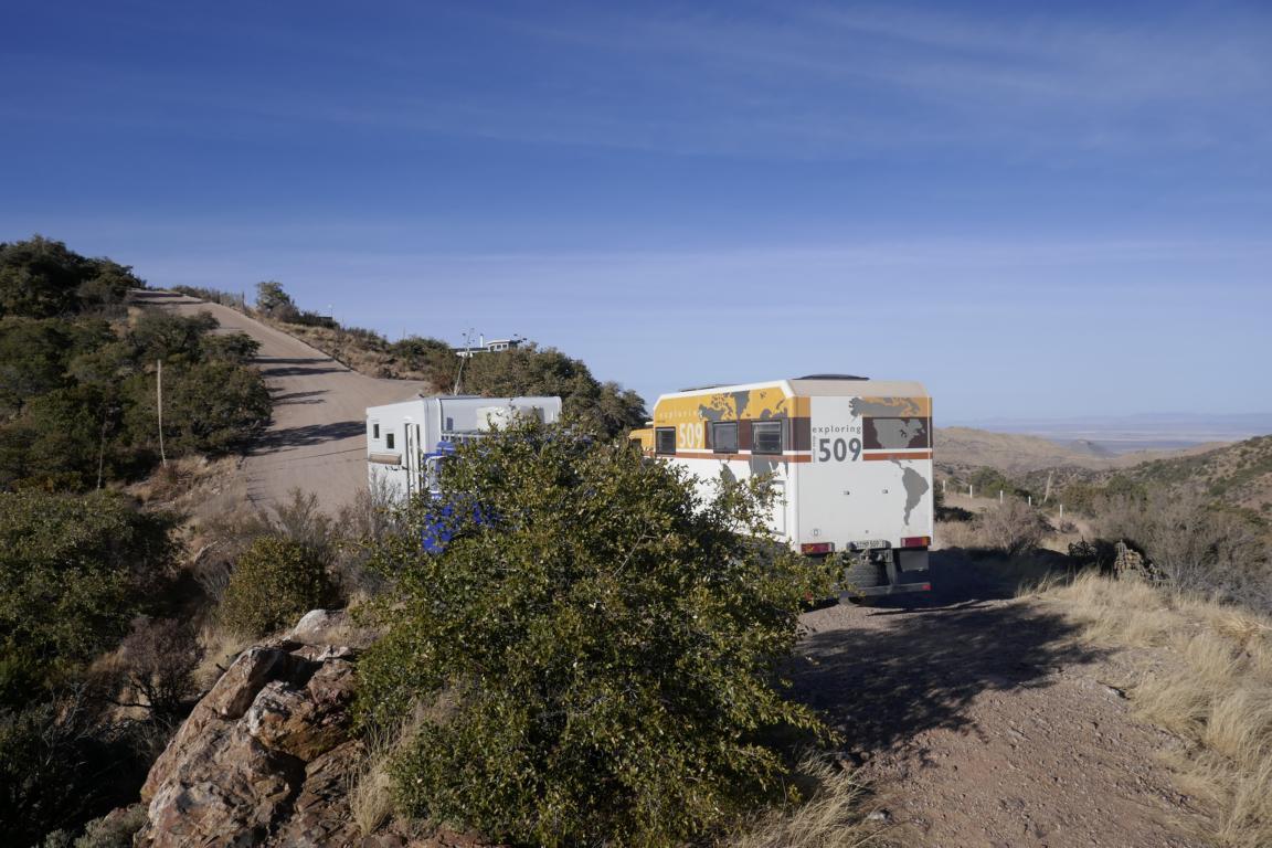 unser Stellplatz auf einem Hügel ausserhalb von Bisbee