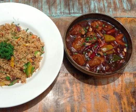 Thai Fried Rice with Kung Pao Chicken
