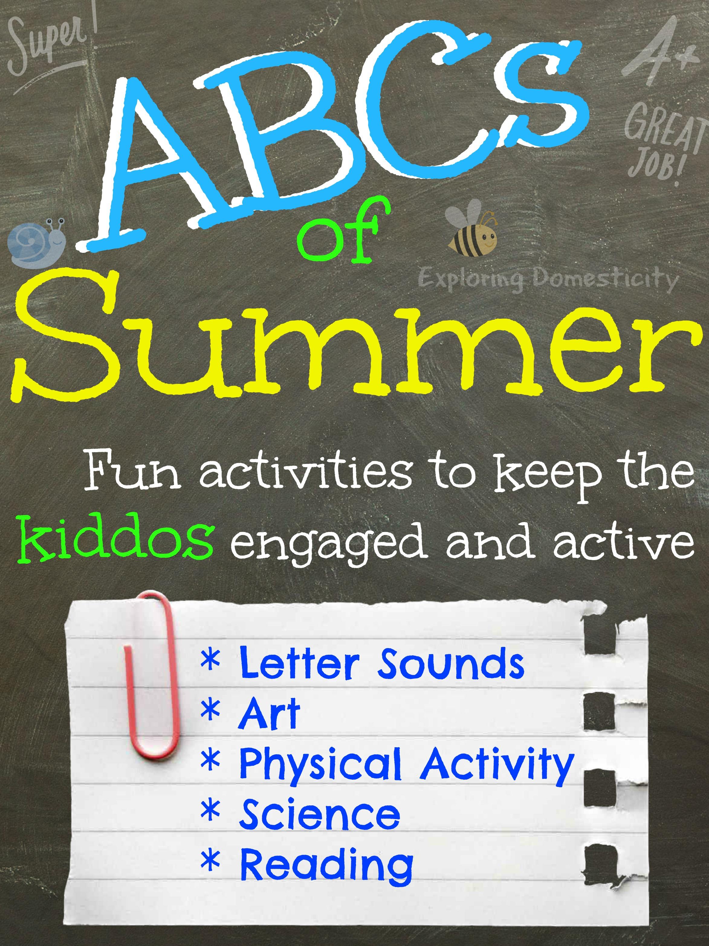 Abcs Of Summer Summer Activities For Preschoolers Letter