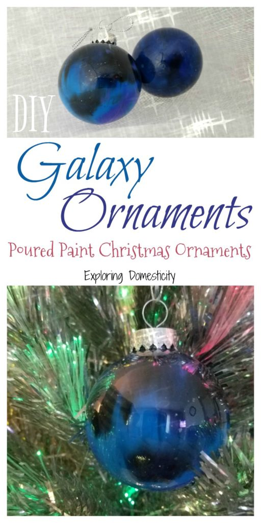 DIY Galaxy Ornaments - Poured Paint Christmas Ornaments