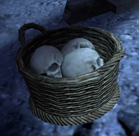 Basket of skulls in the wailing prison