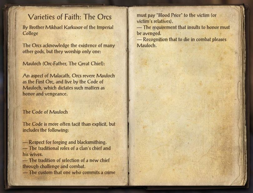 The Books of the Elder Scrolls Online - Varieties of Faith - The Orc
