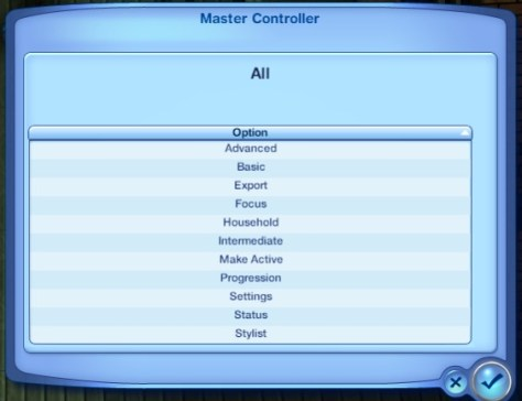 The first screen you see for Master Controller
