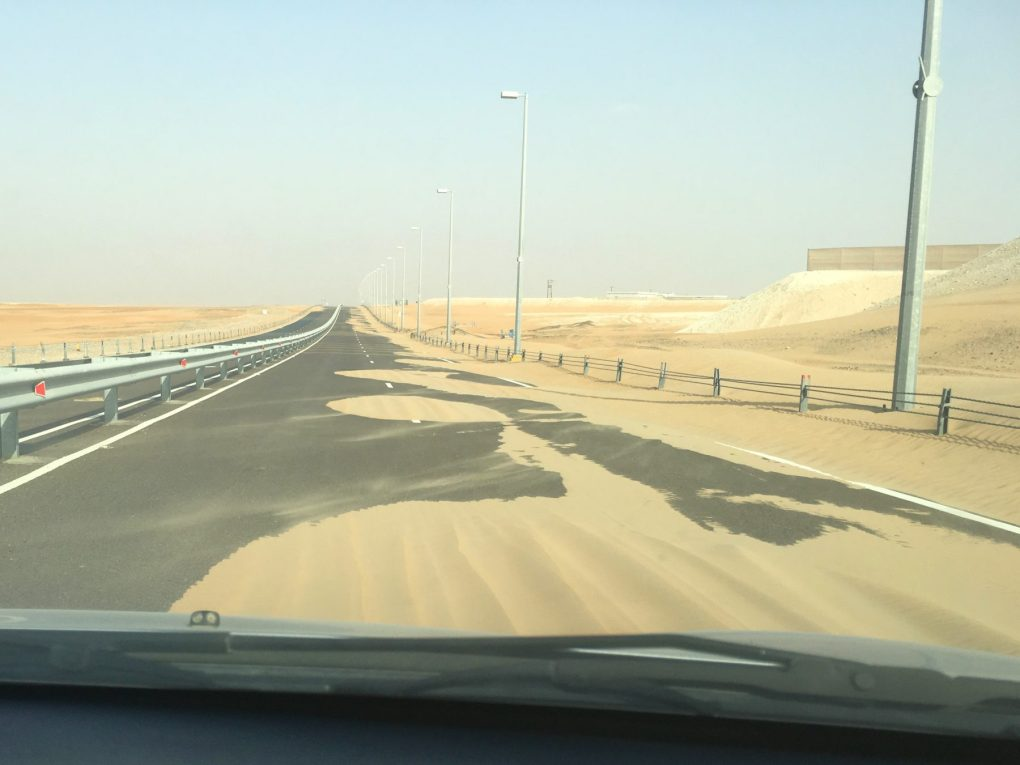 Tilal Liwa Hotel desert road