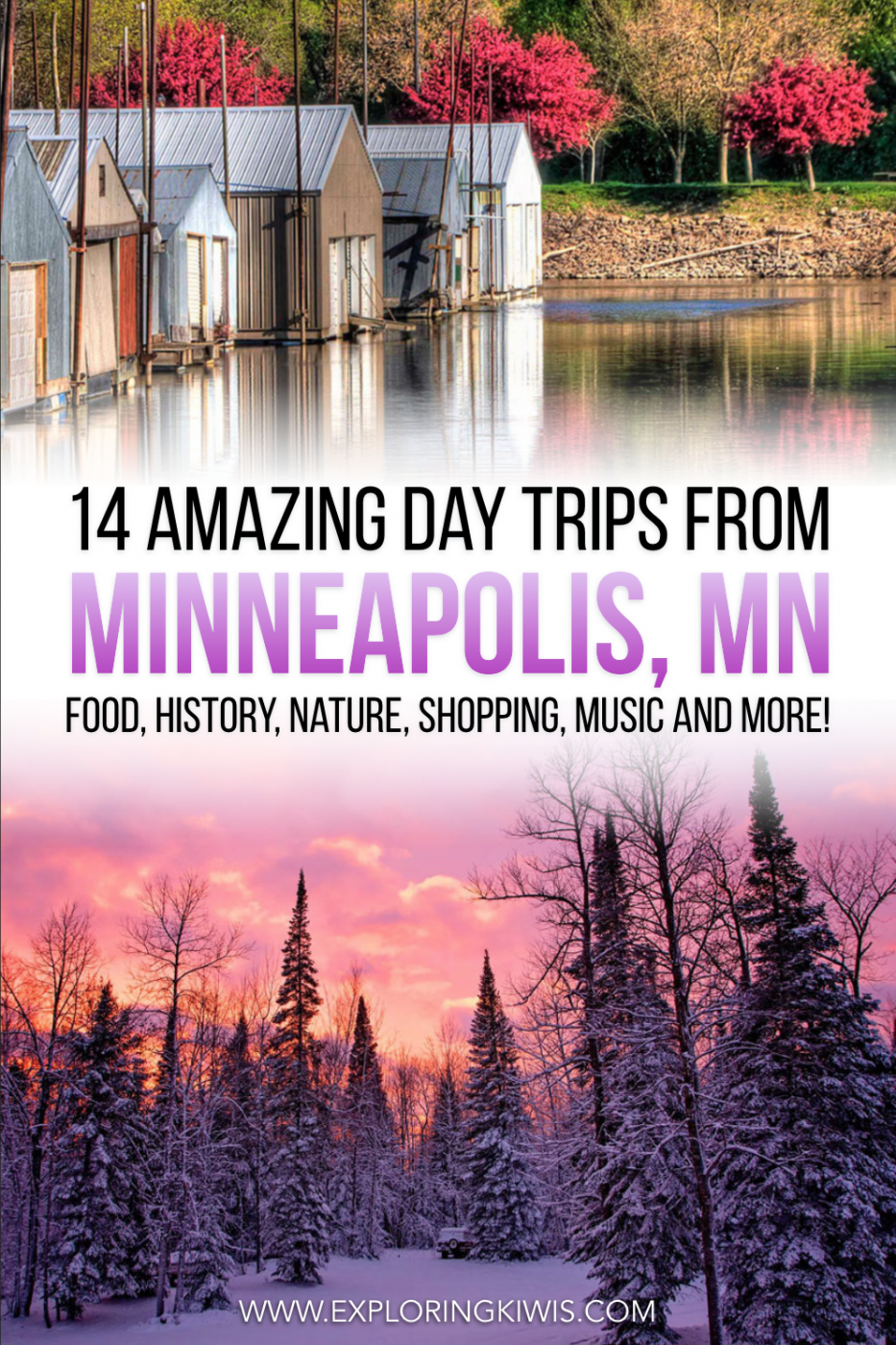 If you\'re in Minneapolis, MN, pack up the car and take a road trip to one of these 14 spots! Gorgeous towns and unique spots - they\'re all within two hours of the city.