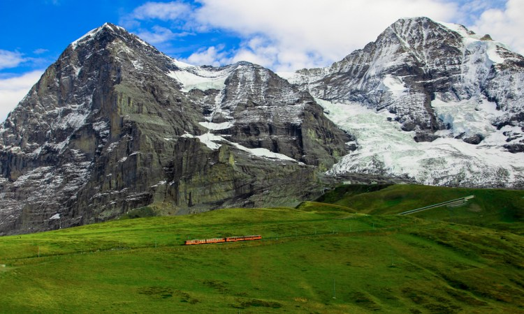 Switzerland Europe Alps Swiss Travel Adventure Mountains Train Hill Rolling Grass Snow Geology Formation Plate Tectonics Photography