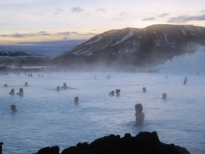 Josh (in the foreground) at the Blue Lagoon