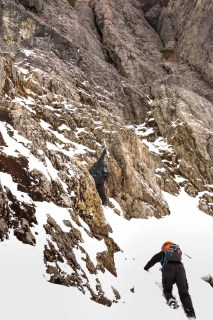Phil heading up toward the chockstone on Triple Peaks southeast ridge