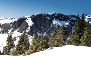 Taken from Rodgers Ridge facing southwest, the scramble route covered in snow