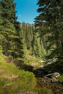 The tarn and stream, Rodgers Ridge behind