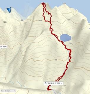 Hiking and Climbing Triple Peak via the Southeast Ridge Route Map for Triple Peak
