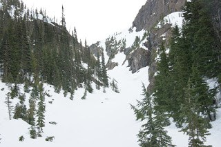 a view up the gully, the cirque above